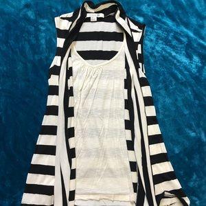 Striped Tank/Cardigan 2-in-1 Top